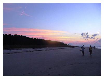 Poster featuring the photograph A Sunrise Stroll On The Beach by Frank Wickham