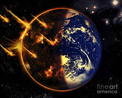A Swarm Of Deadly Meteorites Impact Poster by Tomasz Dabrowski