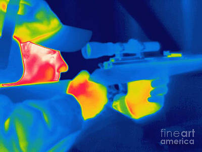 A Thermogram Of A Man Holding A Rifle Poster by Ted Kinsman