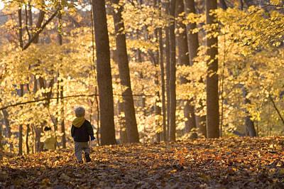 A Three Year Old Boy Walks Poster