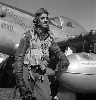 A Tuskegee Fighter Pilot Poses Poster