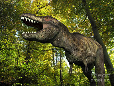 A Tyrannosaurus Wanders A Cretaceous Poster by Walter Myers