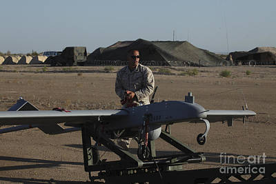 A U.s. Marine Prepares To Launch An Poster by Stocktrek Images