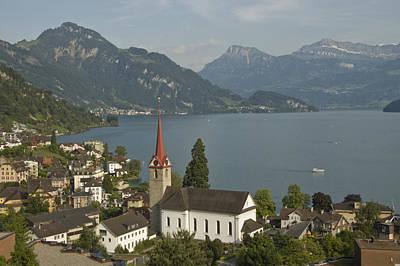 A Village Along Lake Lucerne Or Poster