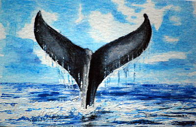 Poster featuring the painting A Whales Tail by Lynn Hughes