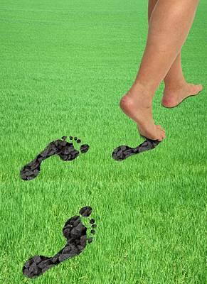 A Woman's Feet Leaving Carbon Footprints Poster by Victor De Schwanberg