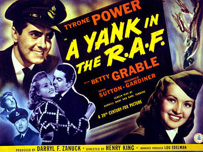 A Yank In The R.a.f., Tyrone Power Poster by Everett