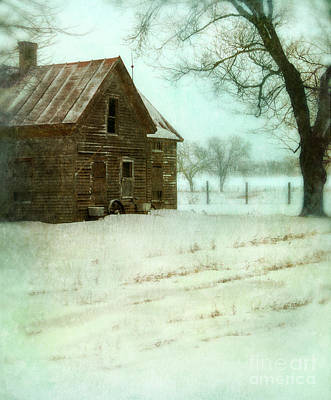 Abandoned Farmhouse In Snow Poster