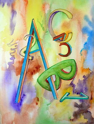 Poster featuring the painting Abc And 123 by Mary Kay Holladay