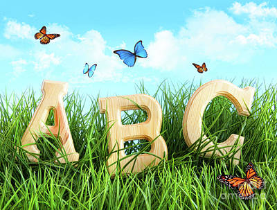 Abc Letters In The Grass Poster