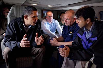 Aboard Marine One President Obama Meets Poster