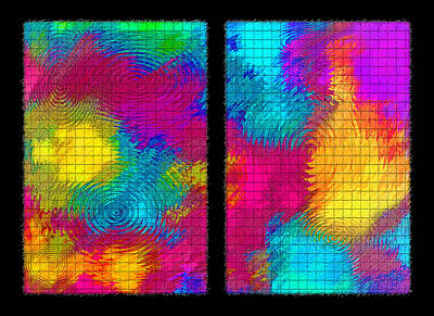 Abstract - Ripples Diptych Poster