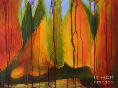 Abstract Autumn Trees Poster by Jinfeng Shi