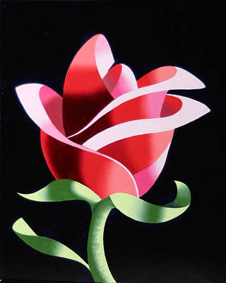 Poster featuring the painting Abstract Geometric Cubist Rose Oil Painting 2 by Mark Webster