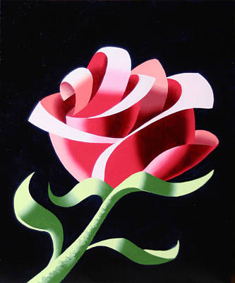 Poster featuring the painting Abstract Geometric Cubist Rose Oil Painting 3 by Mark Webster