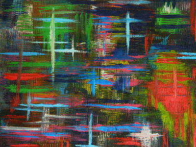 Poster featuring the painting Abstract Lines by Everette McMahan jr