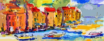 Abstract Portofino Italy And Boats Poster
