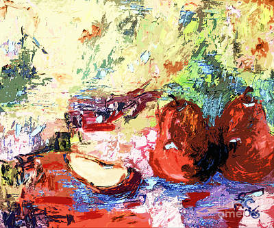 Abstract Red Pears Still Life Poster by Ginette Callaway