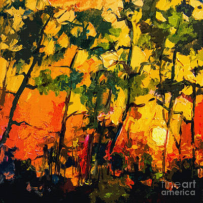 Abstract Sunlight Through The Pines Poster by Ginette Callaway