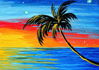 Abstract Tropical Palm Tree Painting Tropical Goodbye By Madart Poster by Megan Duncanson