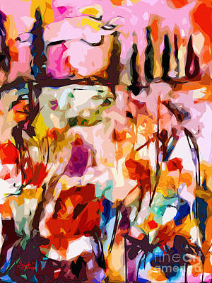 Abstract Tuscan Poppy Landscape Poster