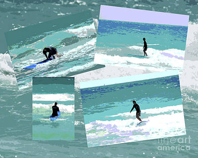 Action Surfing Print Poster by ArtyZen Kids