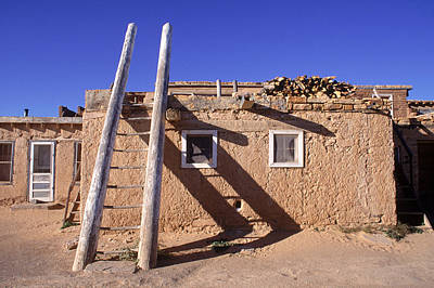 Adobe Houses And  A Ladder Casting Poster by Ira Block