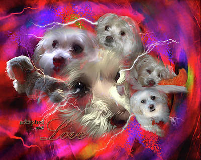 Poster featuring the digital art Adopted With Love by Kathy Tarochione