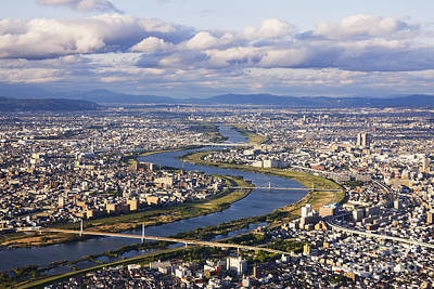 Aerial Japanese Cityscape And River Poster