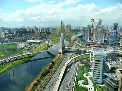 Aerial View Of Bridge Estaiada Poster by Felipe Borges
