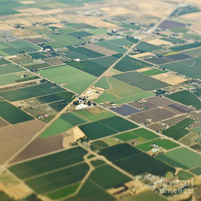 Aerial View Roads In An Agricultural Community Poster