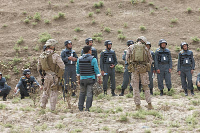 Afghan Police Students Listen To U.s Poster by Terry Moore