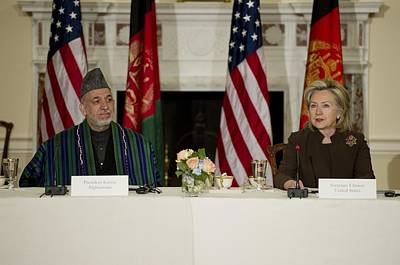 Afghan President Hamid Karzai And Sec Poster by Everett