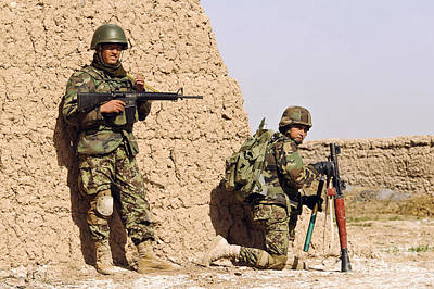 Afghan Soldiers Conduct A Dismounted Poster by Stocktrek Images