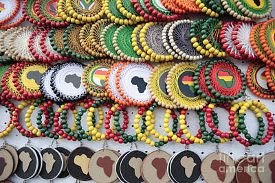African Beaded Earrings Poster by Neil Overy