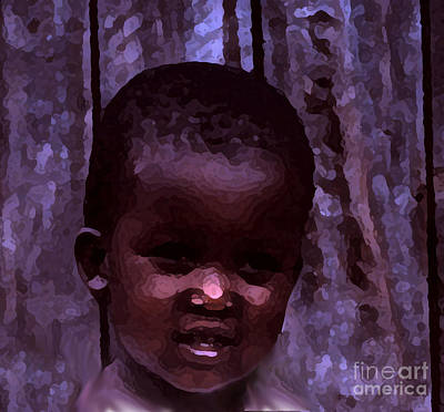 Poster featuring the pyrography African Little Girl by Lydia Holly