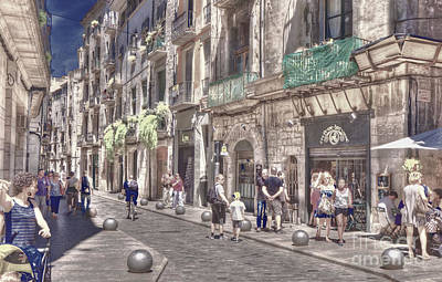 Poster featuring the photograph Al Fresco - Girona Spain by Jack Torcello