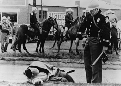 Alabama State Trooper Stands Over An Poster by Everett