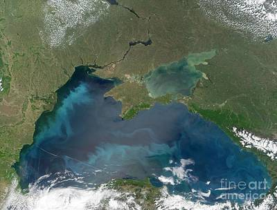 Algal Blooms In The Black Sea Poster by NASA / Science Source