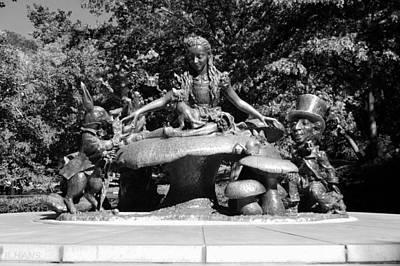 Alice In Wonderland In Central Park In Black And White Poster