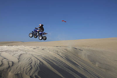 All Terain Vehicle Jumping At Pismo Beach Dunes Poster