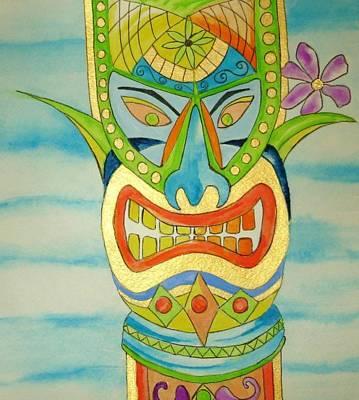Poster featuring the painting Aloha Tiki by Erika Swartzkopf