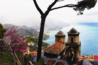 Amalfi Coast Foggy Morning Poster by George Oze
