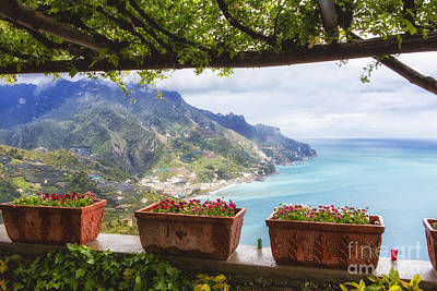 Amalfi Coast Vista From Under A Trellis Poster by George Oze