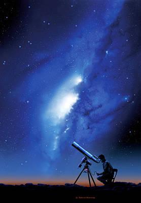 Amateur Astronomy, Computer Artwork Poster by Detlev Van Ravenswaay