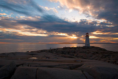 Amazing Sunset At Peggy's Cove Poster by Andre Distel