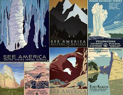 America The Beautiful Vintage Posters Collage Poster