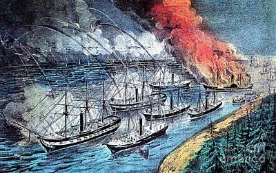 American Civil War, Farraguts Fleet Poster by Photo Researchers
