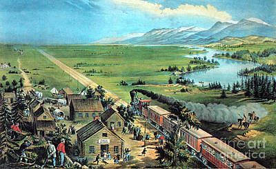 American Transcontinental Railroad Poster by Photo Researchers