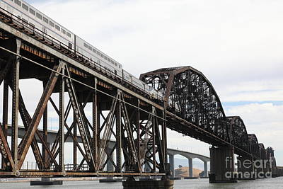 Amtrak Train Riding Atop The Benicia-martinez Train Bridge In California - 5d18728 Poster